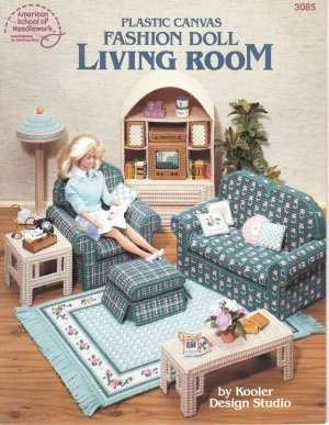 Barbie, Fashion Doll Living Room, Plastic Canvas Pattern Book NEW