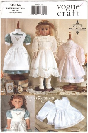 Doll Heirloom Style Dresses Pattern, 18� (45.5cm), NEW 9984