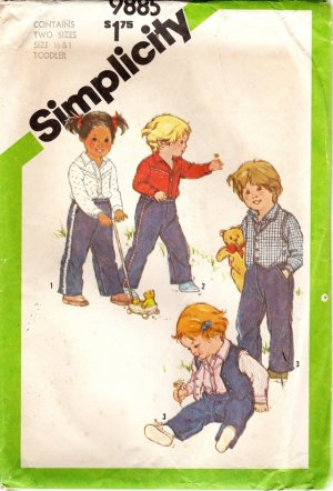 Toddler Shirt, Pull On Pants, Reversible Vest Pattern, Size 1 UNCUT
