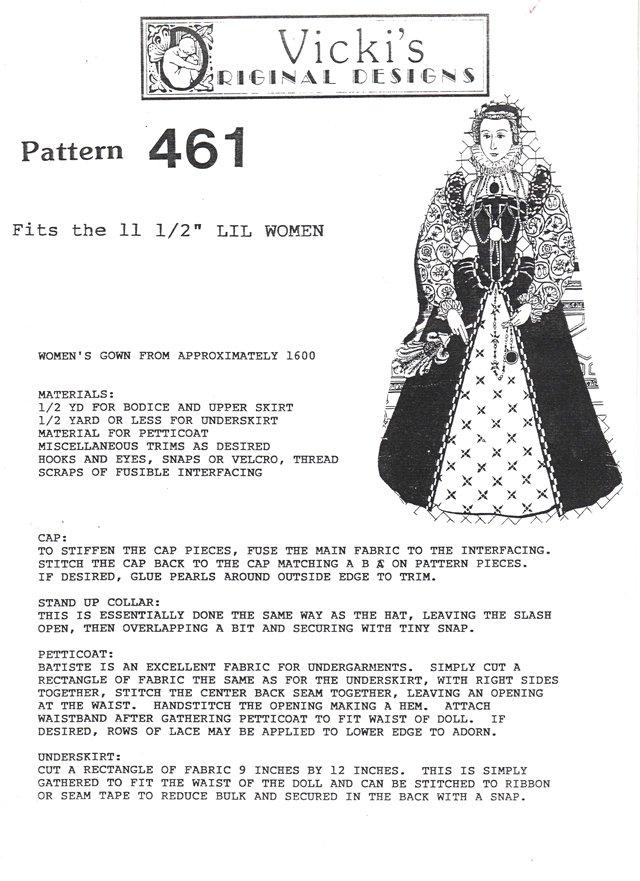 Barbie and Ken Historical Pattern Elizabethan Era 461 NEW