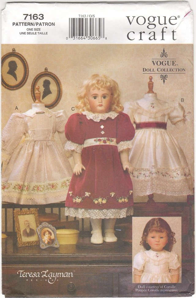 Heirloom  Clothes Pattern for 18� (45.7cm) Dolls Vogue 7163 (695) NEW