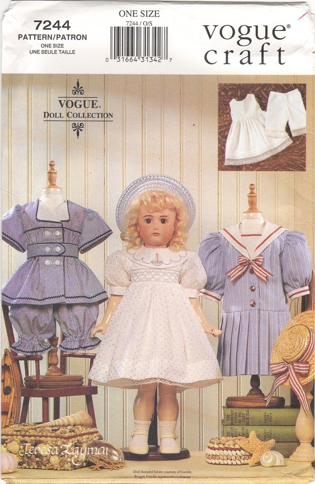 Heirloom  Clothes Pattern for 18� (45.7cm) Dolls Vogue 7244 (709) NEW