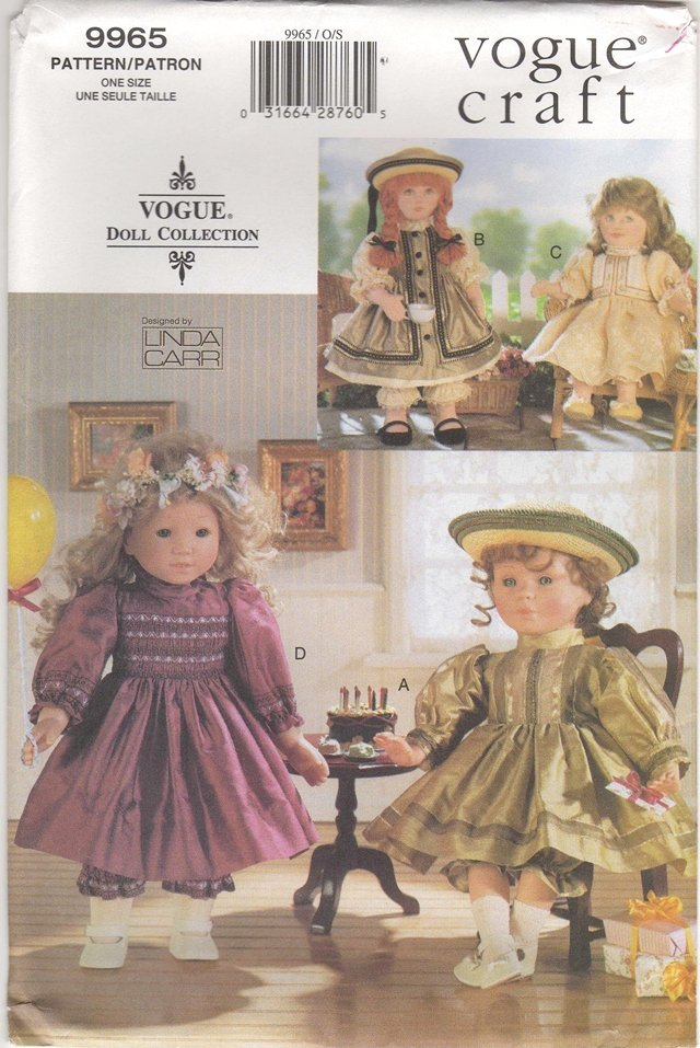Heirloom  Party Dress Pattern for 18� (45.7cm) Dolls Vogue 9965 (659)  NEW
