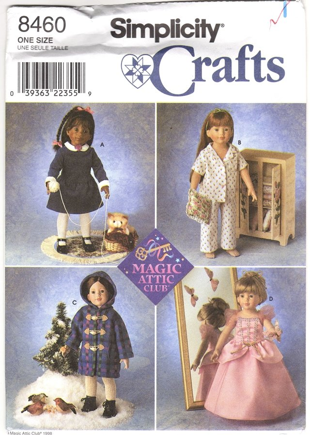 Magic Attic Doll Clothes Pattern 18� (45.7cm) Simplicity 8460