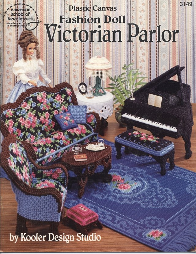 Barbie, Fashion Doll Victorian Parlor, Plastic Canvas Pattern Book 3149