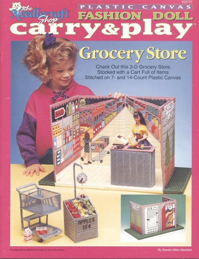 Barbie, Fashion Doll, Carry & Play Grocery Store, Plastic Canvas Pattern Book 933737