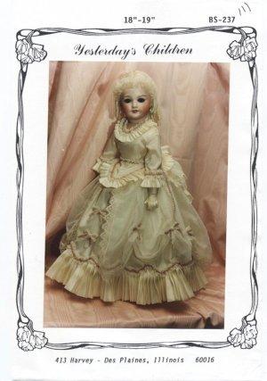 Yesterday�s Children 1880�s style dress for 18� porcelain doll, BS-287 NEW