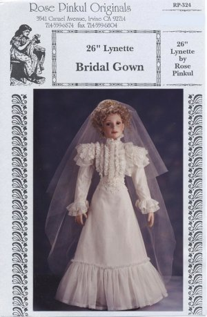 Lynette Bridal Gown, 1890�s, Rose Pinkul Original for 26� porcelain doll, RP-324 NEW