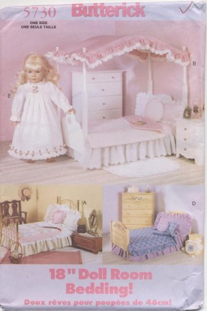Bedding Sets for 18� Dolls, Butterick 5730 NEW