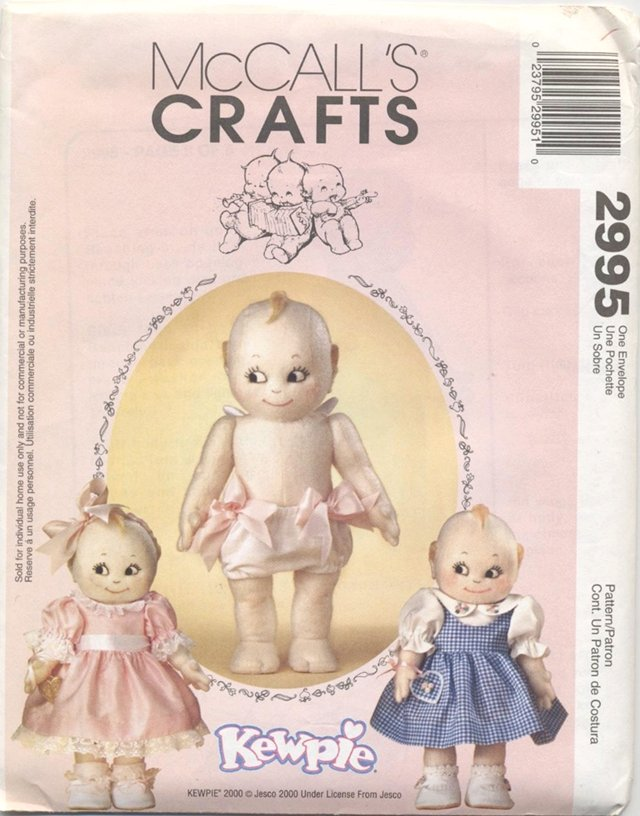 Kewpie Soft Doll and Clothes, 14� doll McCall�s Craft 2995 NEW
