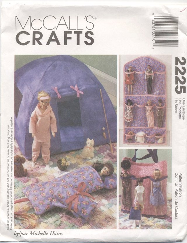 Barbie 11 ½� Doll Camping Set, Doll Organizer, and Tote, McCalls Crafts 2225 NEW
