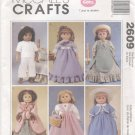 "Historical Clothes for Gotz, Magic Attic or American Girl 18"" Doll, McCall's Craft 2609 NEW"