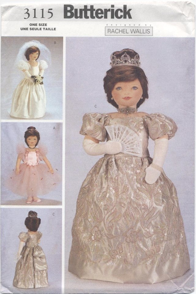 Princess, Ballerina Costumes for 23� (58.4 cm) Soft Dolls Butterick 3115 NEW