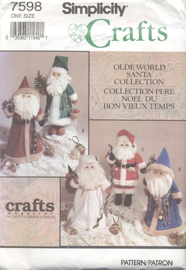 Olde World Santa Collection Doll Pattern for 18� (45.7cm) Dolls Simplicity Crafts 7598 NEW