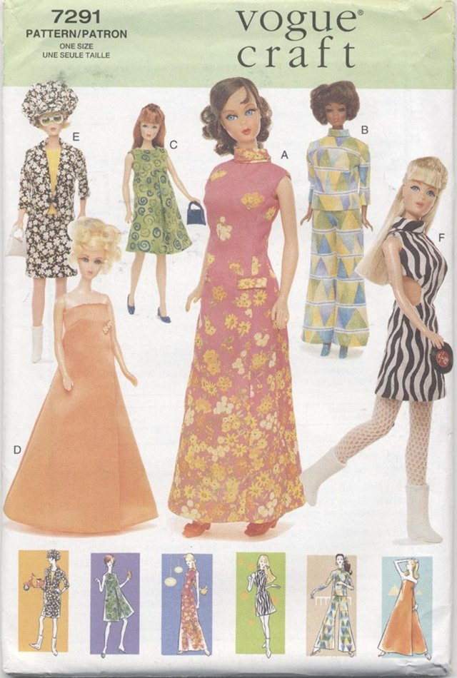 Barbie 11 ½� Fashion Doll Retro 60's Outfits Vogue Craft 7291 NEW