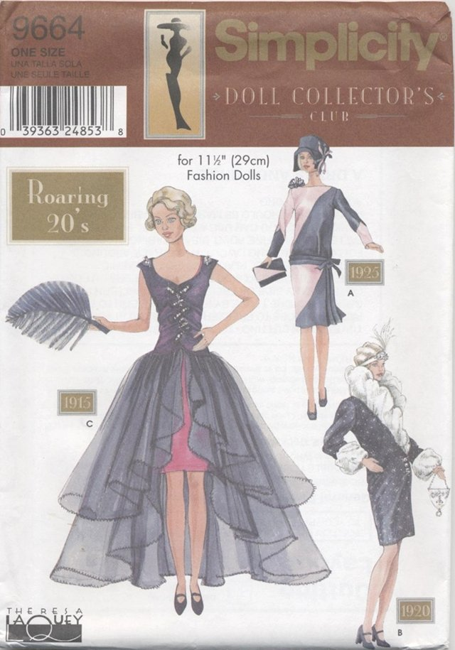 Barbie 11 ½� Fashion Doll 1920�s Historical Outfits Simplicity Doll Collection 9654 NEW