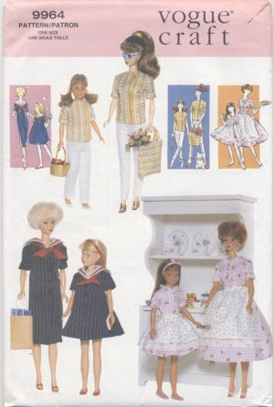 Barbie and Skipper Fashion Doll Retro Matching Outfits Vogue Craft 9964 NEW