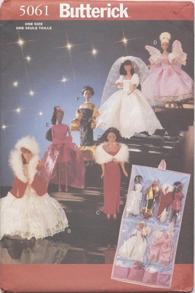 Barbie 11 ½� Fashion Doll Winter Gowns, Angel Costume Butterick 5061 NEW