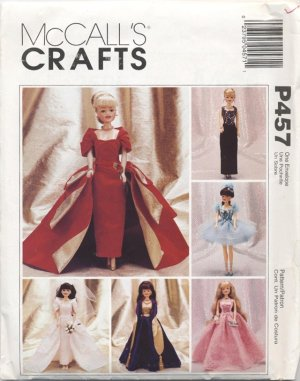 Barbie 11 ½� Fashion Doll Modern Gowns, Tutu Costume McCall�s Crafts P457 NEW