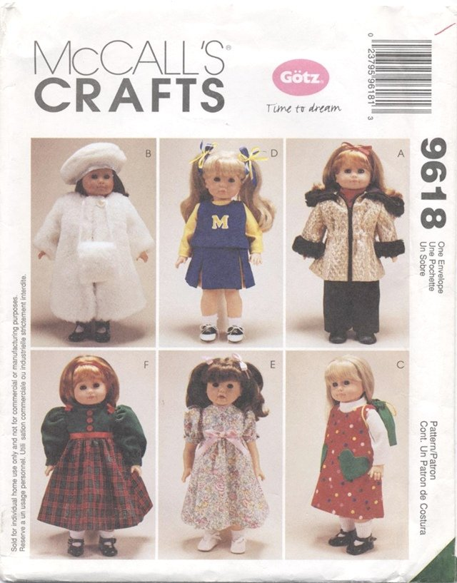 Doll Wardrobe, 18� American Girl or Gotz Type Dolls McCall�s Crafts 9618 NEW