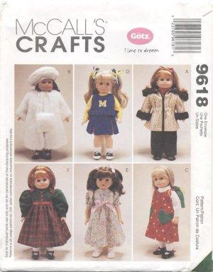 Doll Wardrobe, 18� American Girl or Gotz Type Dolls McCall�s Crafts 9618 NEW