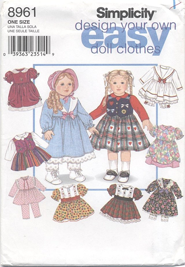 Design Your Own 18� Doll Wardrobe Simplicity 8961 NEW