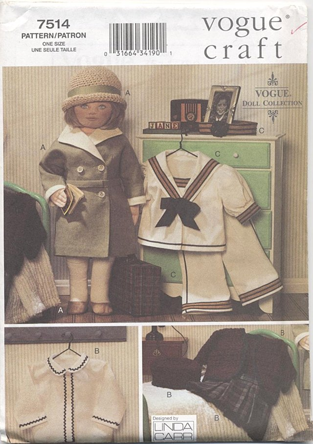 Doll 1930�s Vintage-styled Outfits, 18� Soft Type Dolls Vogue Craft 7514 NEW