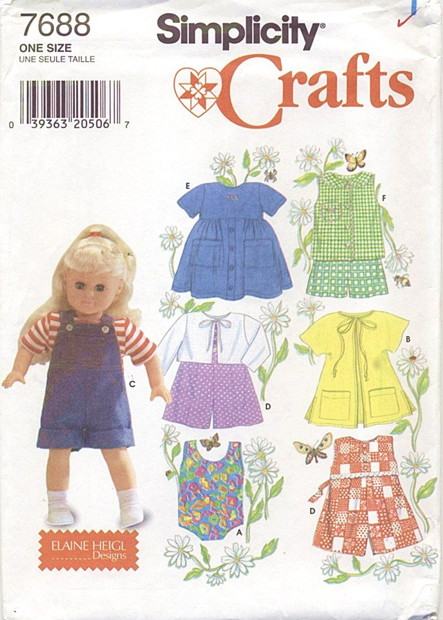 Little Girl Play Outfits, 18� American Girl Type Dolls Simplicity Crafts 7688 NEW