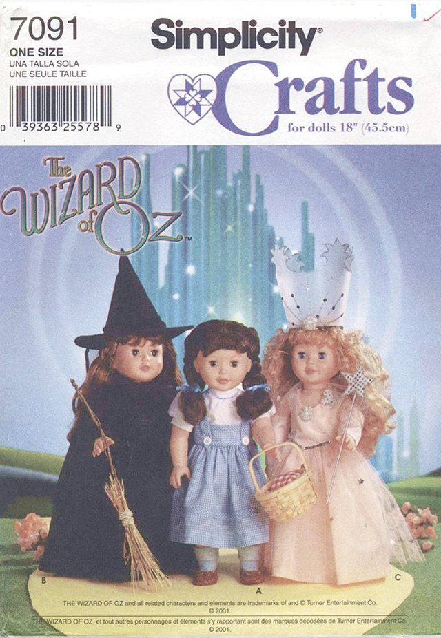 Wizard of OZ Costumes for 18� American Girl Type Dolls Simplicity Crafts 7091 NEW