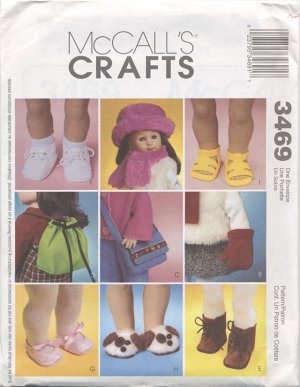 Variety of Accessory Patterns for 18� American Girl Type Dolls McCall�s Crafts 3469 NEW