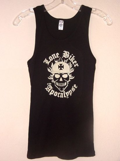 BLACK RIBBED BEATER STYLE GRAPHIC TANK TOP - LONE BIKER