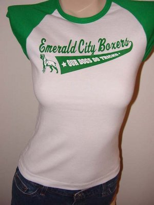 "GREEN & WHITE CAP SLEEVE BOXER DOG GRAPHIC JERSEY T-SHIRT - ""EMERALD CITY BOXERS"""