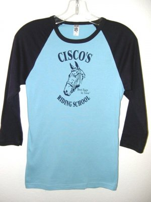 BABY BLUE & NAVY 3/4 SLEEVE HORSE GRAPHIC RAGLAN JERSEY T-SHIRT