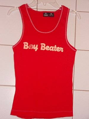 FUN AND FLIRTY BOY BEATER RIBBED GRAPHIC TANK TOP - red, green, pink, aqua and lavendar