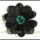 Sheer Sequined Black Flower