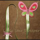 Pink & Green Butterfly Bow Holder
