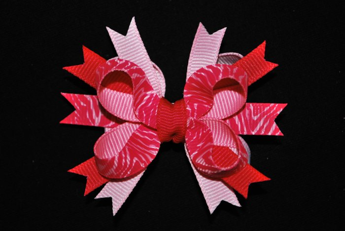 Pink Zebra Bitty Stacked Bow