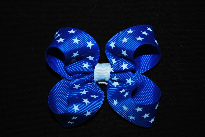 Blue & White Star Twisted Bow