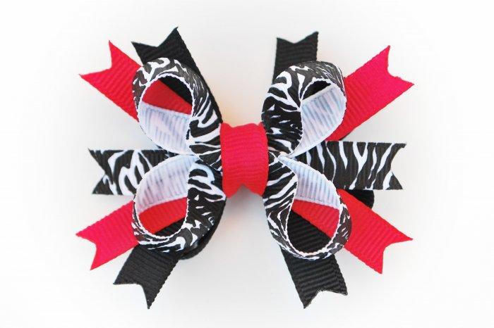 Hot Pink/Black Zebra Bitty Stacked Bow