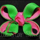Bitty Double Delight Bow - Apple & Hot Pink