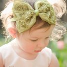 The Lush Bowband in Pear Green - Oversized Rosette Bow Headband Photo Prop