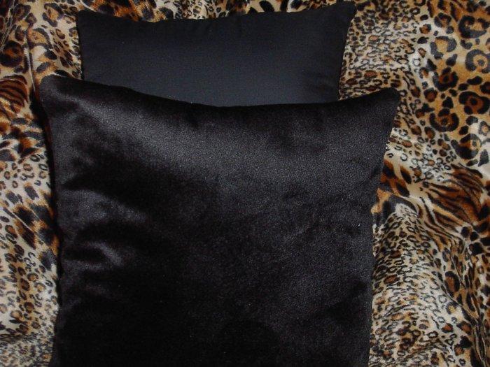 Two Black Faux Fur Thow Pillows, Pillow, New!
