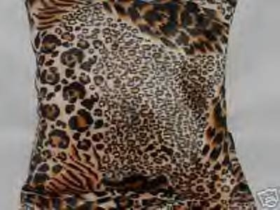 Two Leopard Faux Fur Throw Pillows, Pillow, New!
