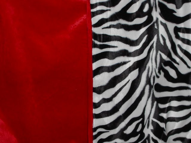 Red and Black and White Zebra Faux Fur Throw Blanket, New!