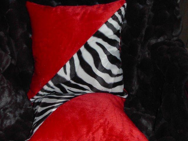 Two Red, Black & White Zebra Faux Fur Throw Pillow, PIllows, New!