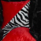 Two Red, Black & White Zebra Faux Fur Throw Pillow, PIllows, New!