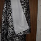 Snow Leopard and White Faux Fur Throw Blanket, New!