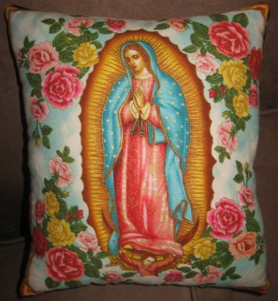 Virgin Guadalupe pillow blue with roses