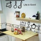 """life is good"" kitchen Home Decor Wall Sticker"