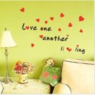 Love Wall Words Quotes Sticker Decals Sayings with red harts